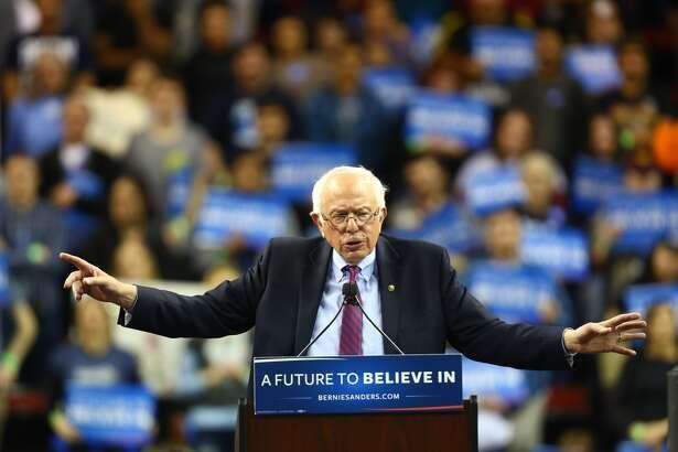 Bernie Sanders addresses thousands in Seattle's Key Arena on Sunday, March 20, 2016. (GENNA MARTIN/SEATTLEPI.COM)