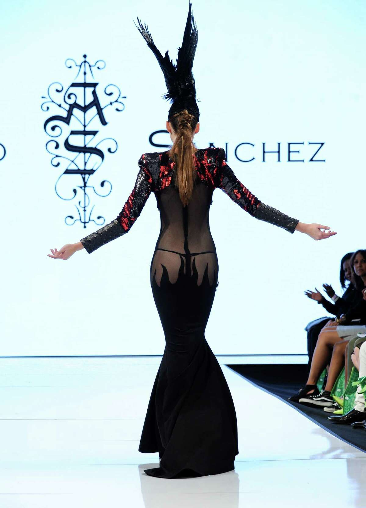 A model walks the runway in Adolfo Sanchez at the Art Hearts Fashion LAFW Fall/Winter 2016 Day 5 at the Taglyan Cultural Complex on March 17, 2016 in Hollywood, California.