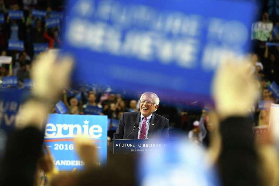 Bernie Sanders speaks to crowds at a rally at KeyArena, Sunday, March 20, 2016. Photo: GENNA MARTIN, SEATTLEPI.COM / SEATTLEPI.COM