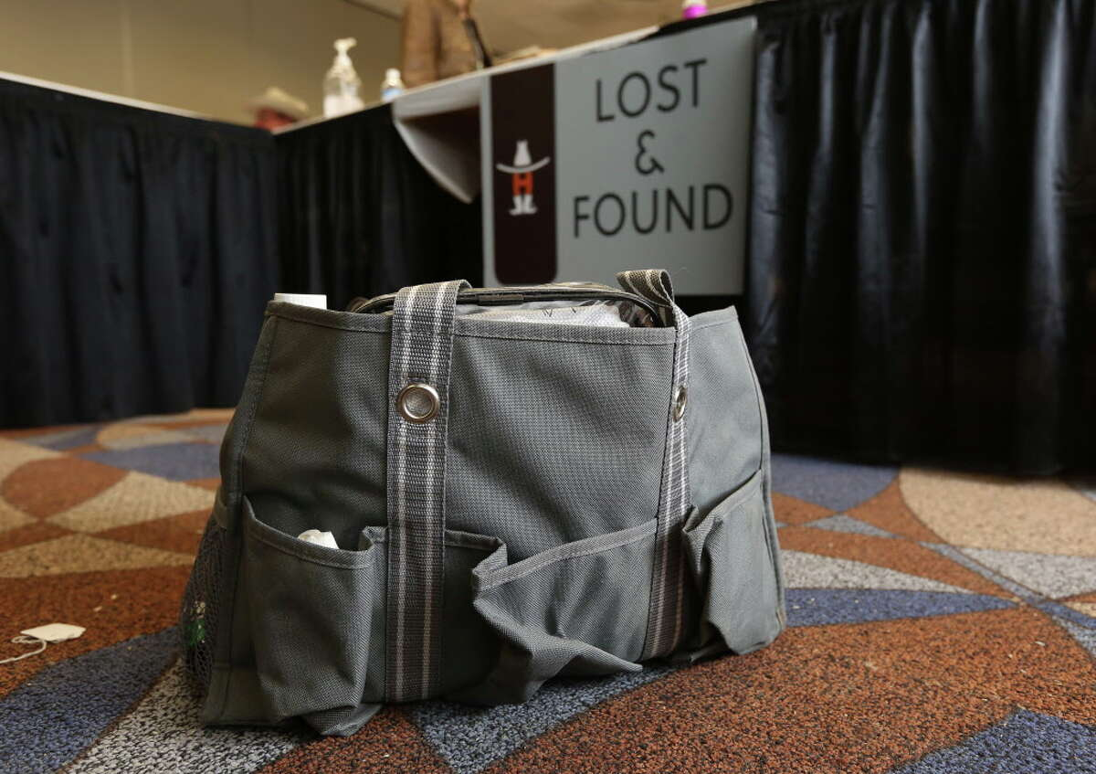 An animal-car supply bag is seen at the lost and found on the last day of the Houston Livestock Show and Rodeo Sunday, March 20, 2016, in Houston.