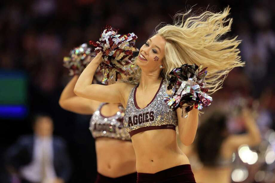 OKLAHOMA CITY, OK - MARCH 20:  Texas A&M Aggies cheerleaders perform in the first half against the Northern Iowa Panthers during the second round of the 2016 NCAA Men's Basketball Tournament at Chesapeake Energy Arena on March 20, 2016 in Oklahoma City, Oklahoma. Photo: Tom Pennington, Getty Images / 2016 Getty Images