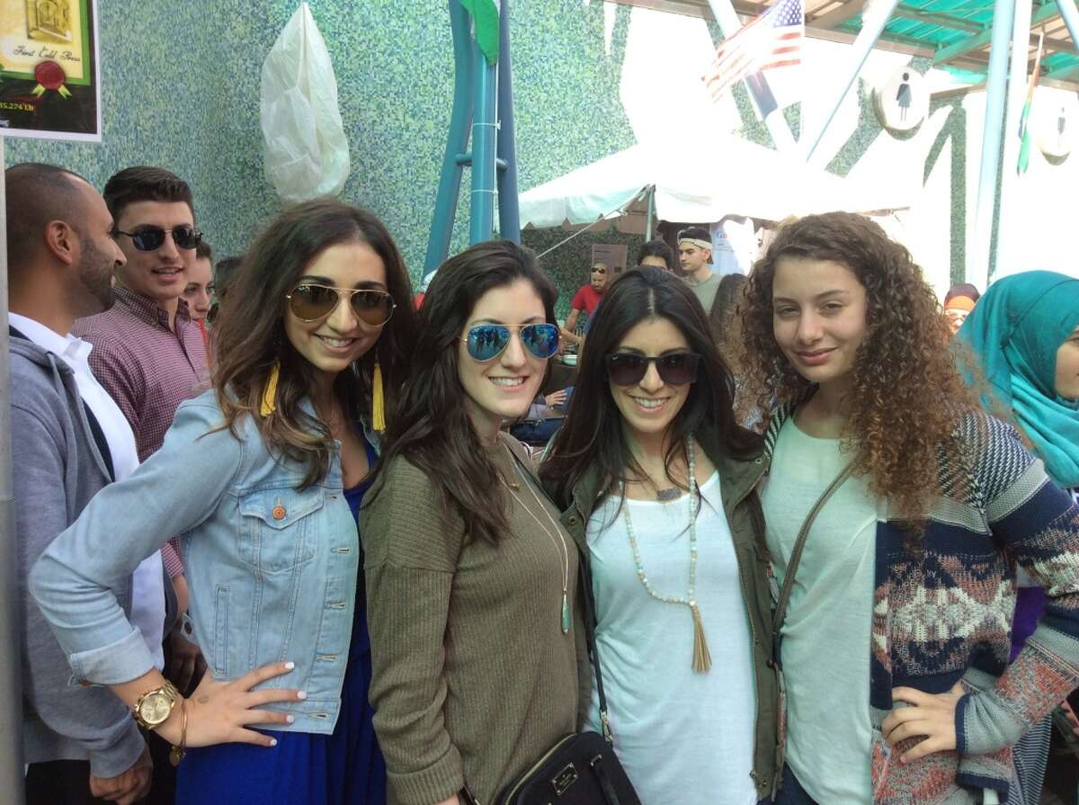 Partygoers are seen at the 6th annual Houston Palestinian Festival on March 19, 2016 at Jones Plaza in downtown Houston.