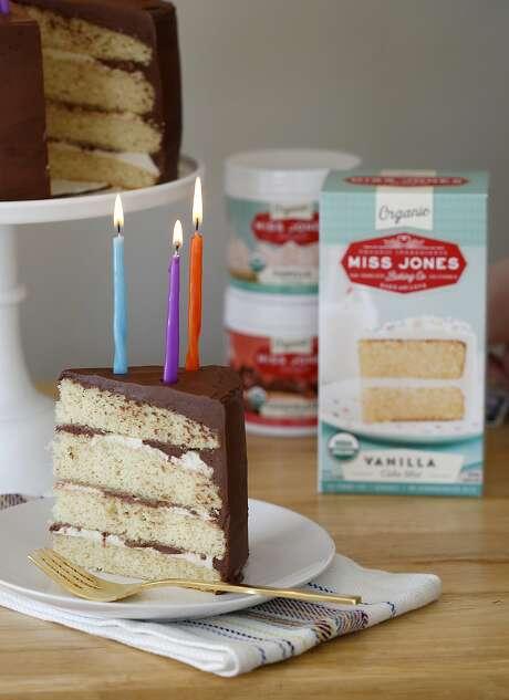 Sarah Jones' organic cake mix and organic canned frostings. Photo: Liz Hafalia, The Chronicle