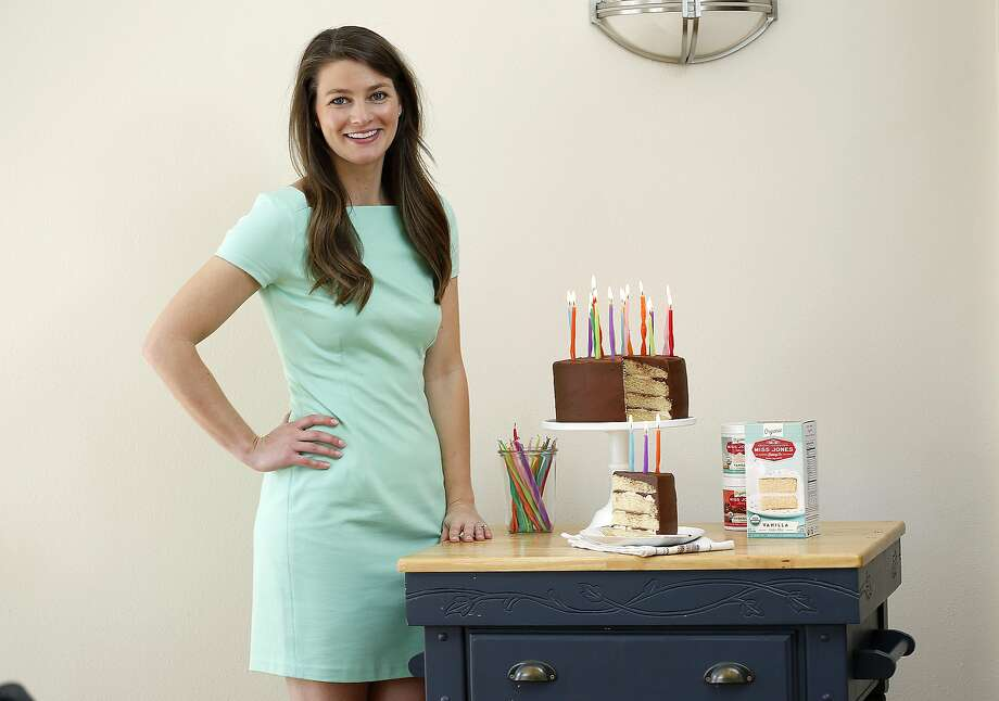 Sarah Jones shows a cake she made with her brand of  Miss Jones organic cake mix and frostings in San Francisco, California,  on tuesday, march 15, 2016. Photo: Liz Hafalia, The Chronicle