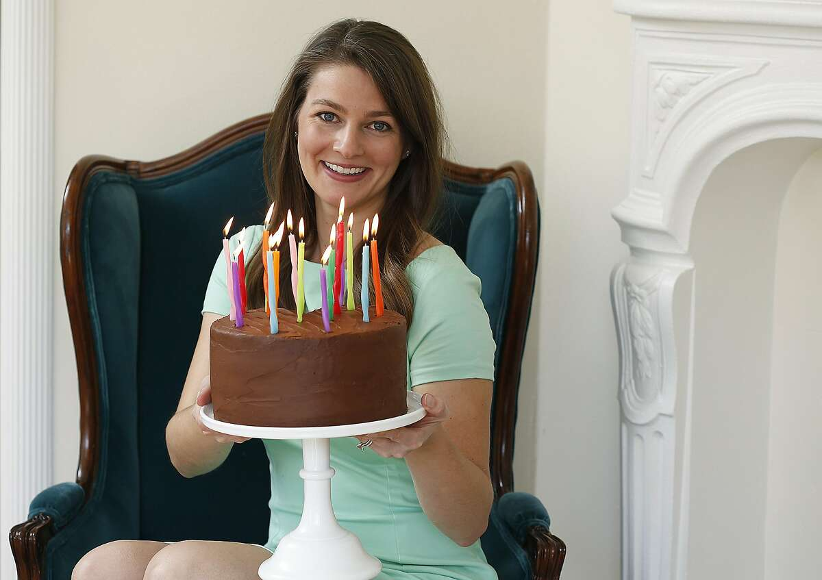 Sarah Jones shows a cake she made with her brand of Miss Jones organic cake mix and frostings in San Francisco, California, on tuesday, march 15, 2016.