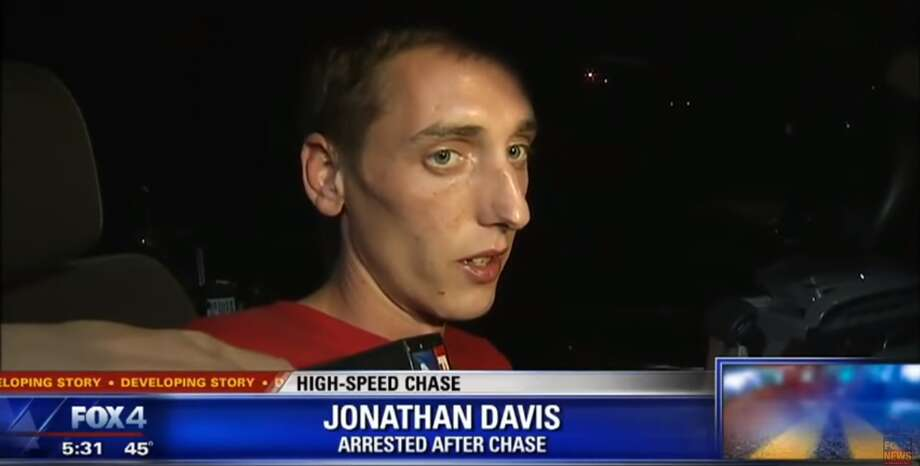 Jonathan Davis, 26, faces several charges after leading police on a high-speed chase from the DFW area to Waco on Feb. 11, 2016. Photo: KDFW/Screengrab