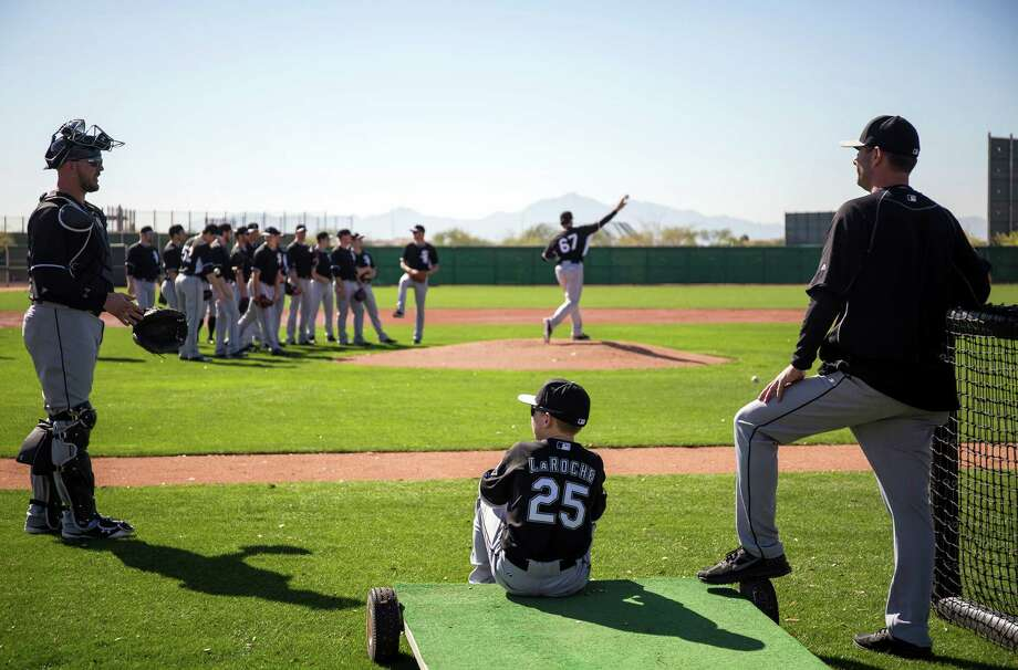 Drake LaRoche, first baseman Adam LaRoche's son, watches practice Thursday, Feb. 26, 2015 at Chicago White Sox spring training in Glendale, Ariz. (Brian Cassella/Chicago Tribune/TNS) Photo: Brian Cassella, MBR / Chicago Tribune