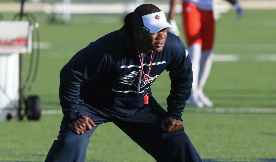 UTSA coach Frank Wilson goes through the first day of spring football practice at the main campus on March 21, 2016. Wilson was named head coach of the team after the first coach of the program, Larry Coker, was ousted in January. Photo: Jerry Lara /San Antonio Express-News / © 2016 San Antonio Express-News