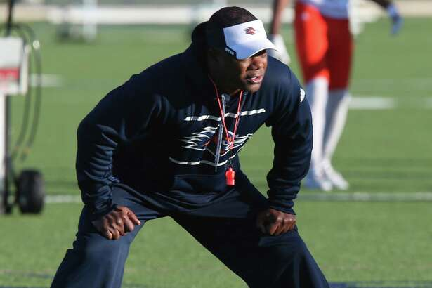 UTSA coach Frank Wilson goes through the first day of spring football practice at the main campus on March 21, 2016. Wilson was named head coach of the team after the first coach of the program, Larry Coker, was ousted in January.