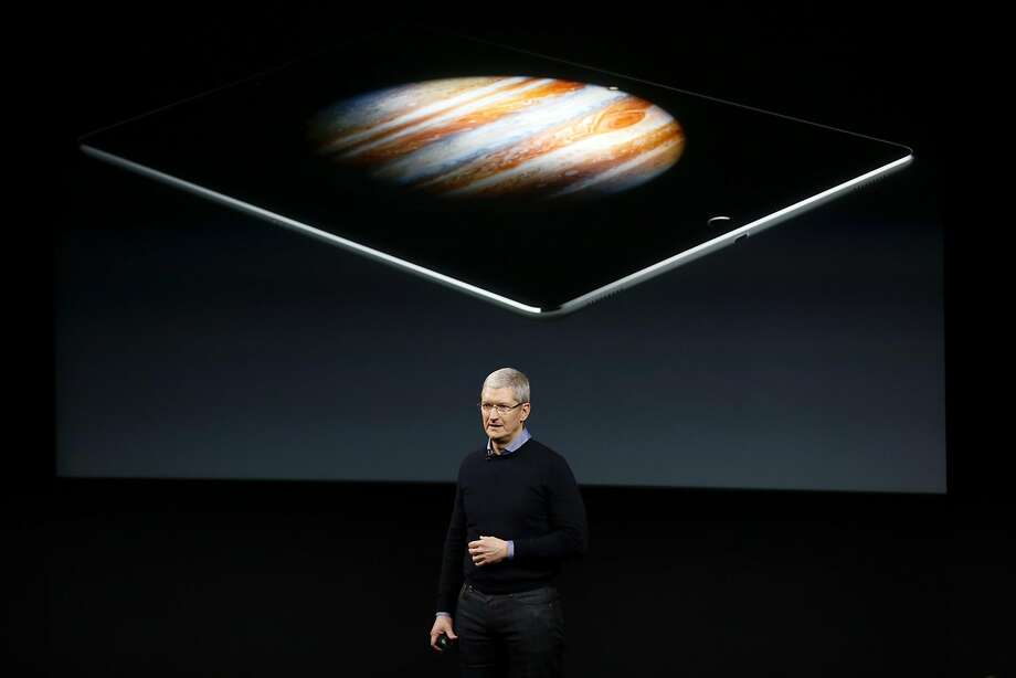 Apple CEO Tim Cook speaks about the iPad during an Apple product launch event at Apple headquarters in Cupertino, California, on Monday, March 21, 2016. Photo: Connor Radnovich, The Chronicle