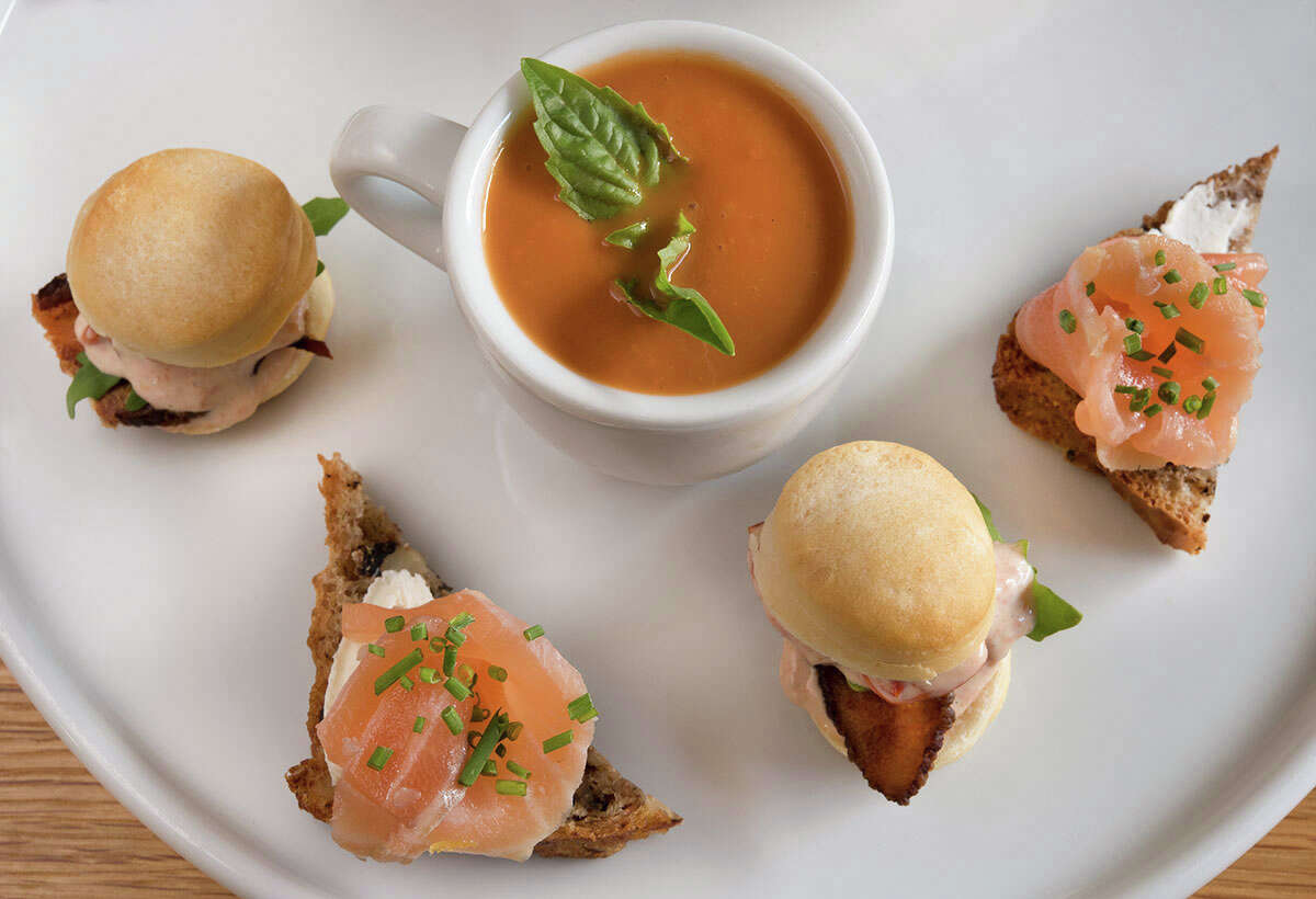 Bistro Menil has begun a tea service Thursday through Sunday from 2 to 5 p.m. Reservations are required for this afternoon tea that begins with champagne and includes sweet and savory bites presented tiered trays. The price is $45 per person. Shown: Tea small bites.