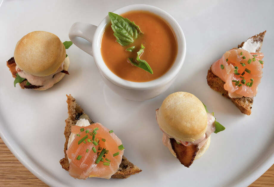 Bistro Menil has begun a tea service Thursday through Sunday from 2 to 5 p.m. Reservations are required for this afternoon tea that begins with champagne and includes sweet and savory bites presented tiered trays. The price is $45 per person. Shown: Tea small bites. Photo: Bistro Menil
