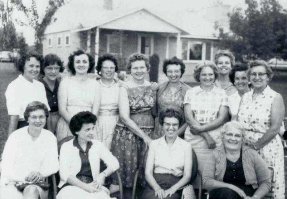 In the first row, from left, Dottie Allen, Lib Olson, Eva Lowrey, Fern Christenson. Second row, from left, Joyce Meeks, Jane Priest, Lucille Miller, Dorothy Burgess, Ardyce Rector, Marian Kingsley, Ruth Herbert, Fran Waling, Bev Erickson and Skip Serdynsky. Other members included Edna Walker, Faith Buege, Clara Hunemorder, Joann Kenaga and Lorraine Wheaton.Photo provided
