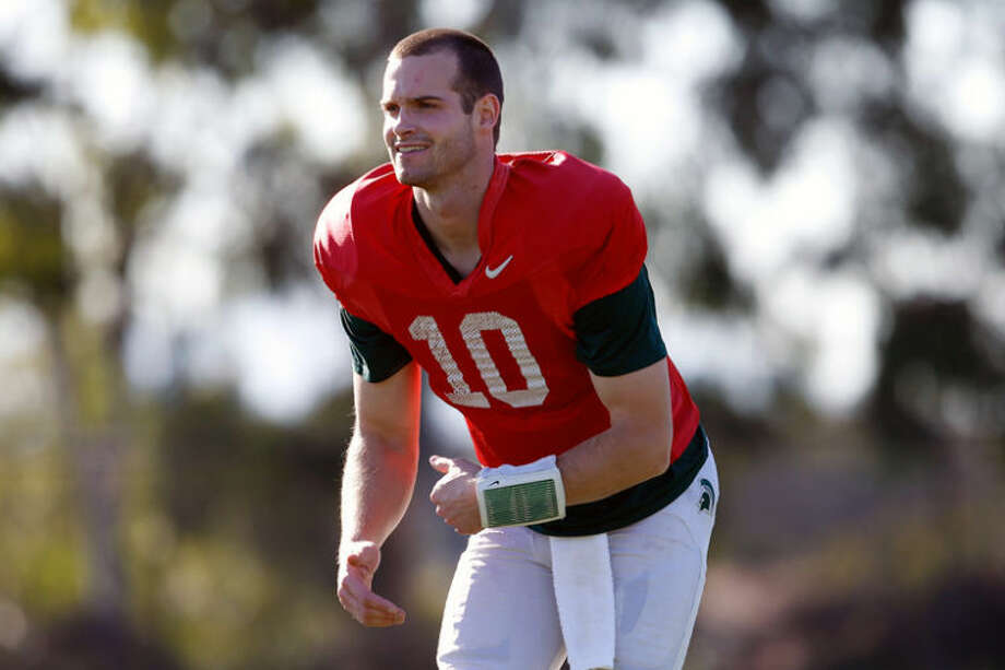 AP Photo   The Grand Rapids Press, Mike MulhollandMichigan State backup quarterback Andrew Maxwell stretches during a practice at StubHub Center in Carson, Calif. The former starter talked Sunday about the bittersweet journey of his senior season. Photo: Mike Mulholland