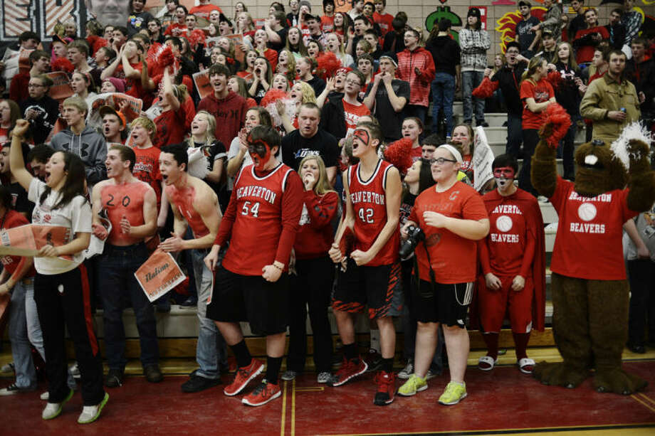 NEIL BLAKE | nblake@mdn.netBeaverton High School students cheer as their team is introduced at a recent basketball game. Photo: Neil Blake/Midland  Daily News