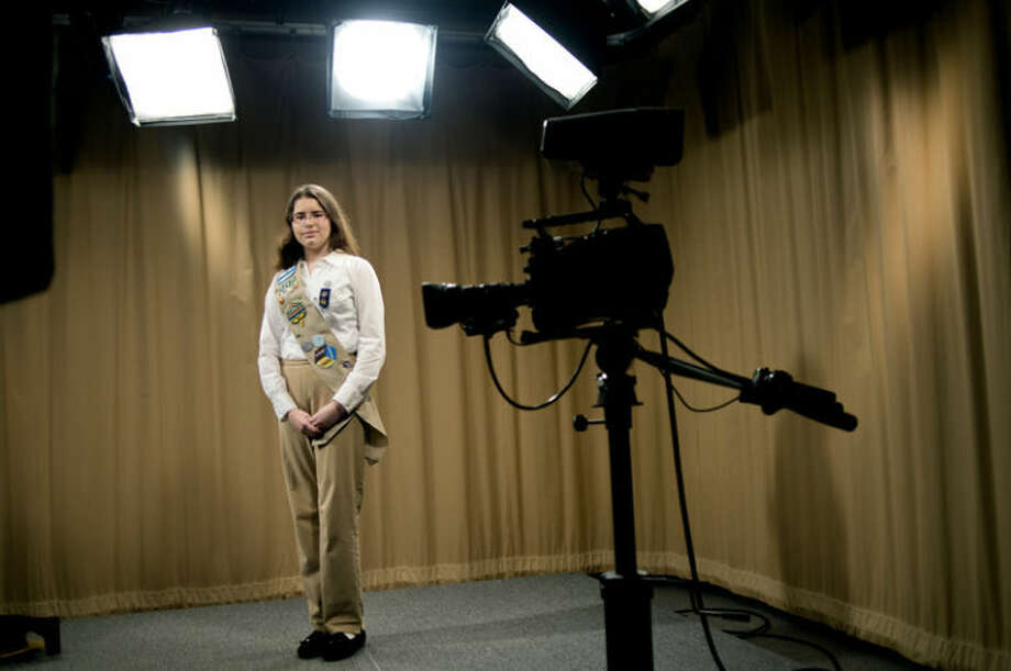 Cara Mitrano, 16, of Midland, created TV shows on autism for her Girl Scout Gold Award project. She used the facilities at MCTV to make two shows that are airing locally. Photo: Nick King/Midland  Daily News