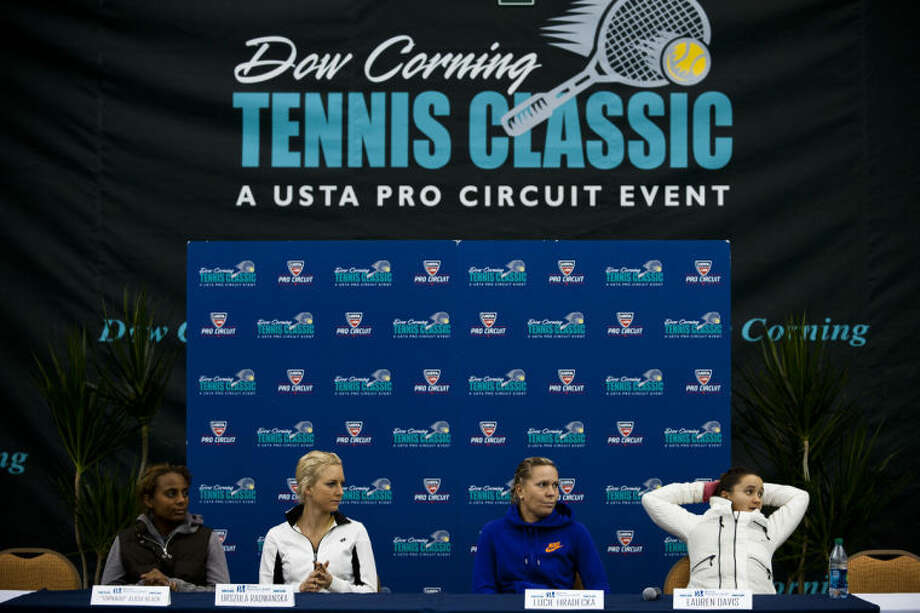 ZACK WITTMAN | for the Daily NewsFrom left, Alicia Black, Urzula Radwankska, Lucie Hradecka and Lauren Davis answer questions during a press conference at the 26th annual Dow Corning Tennis Classic on Monday afternoon at the Midland Community Tennis Center. Photo: Sean Proctor/Midland  Daily News