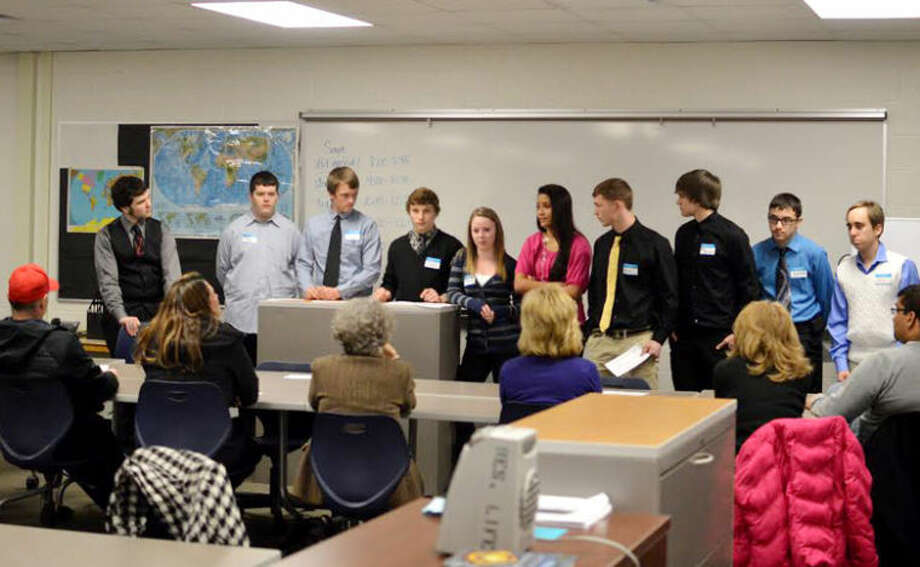 Photo provided Tenth grade Meridian High School early college students lead a group discussion on non-violent solutions in January.