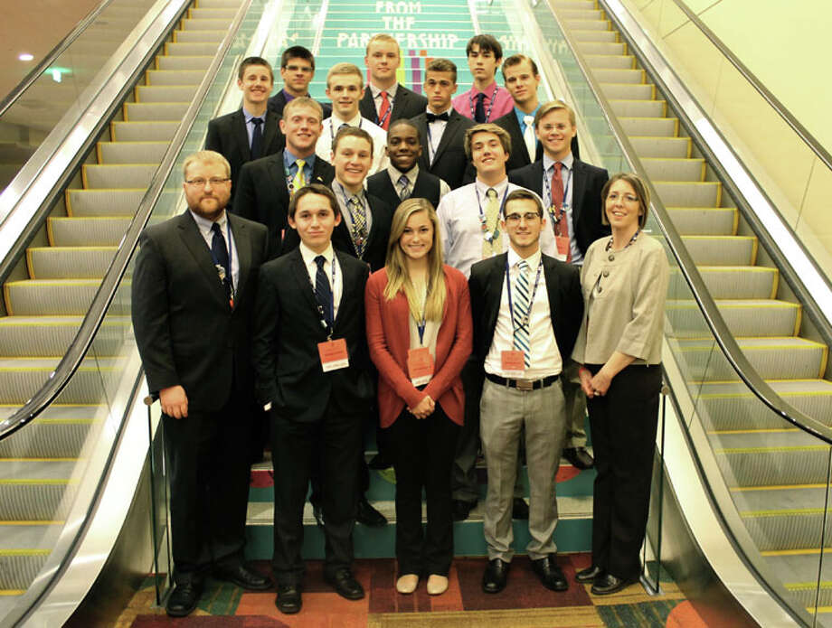 Pictured are, back row, from left, Nolan Welser, Zachary Church and Max Dykhuizen; third row, from left, Adam Talbott, Jeffrey Searle, Quinten Greiner and Justin Butler; second row, from left, Nathan Miller, Joey Adams, Jonathan Haynes, Matthew Bott and James Miller; and front row, from left, Jonathan Cook, advisor, Keegan McGuire, Nicole Meeks, Brendan Varilek, and Andrea Jozwiak, advisor.