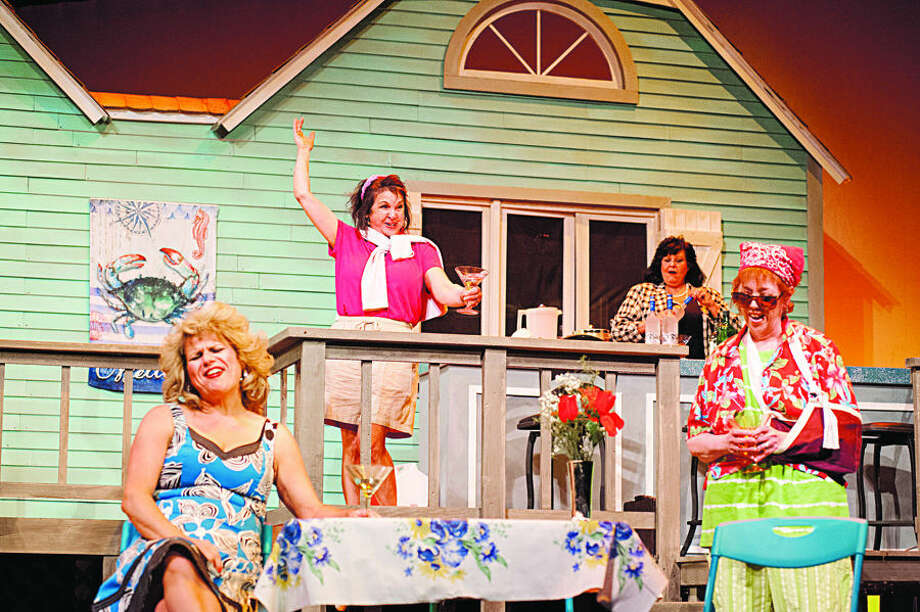 "STEVEN SIMPKINS/Daily News Denyse Clayton as Lexi Richards, Debbie Lake as Sheree Hollinger, Susie Polito as Dinah Grayson and Jeanne Gilbert as Vernadette Sims in the Midland Center for the Arts Center Stage Theatre production of ""The Dixie Swim Club."""