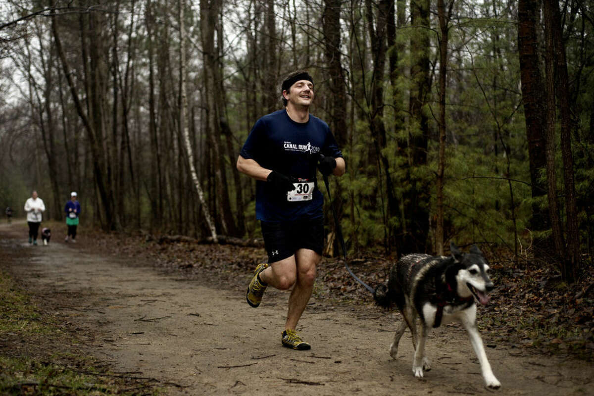Benjamin Conard, of Midland, runs toward the finish line Saturday morning during the second annual Fast & Furriest 5k Run/Walk at the Midland City Forest. Hundreds of runners and walkers joined their dogs to raise funds for the Great Lakes Bay Animal Society to help provide quality care for animals.