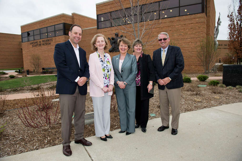 Pictured are, from left, Andy Bethune, executive director of the SVSU Foundation; Marilyn Wheaton, director of the Marshal Fredericks Sculpture Museum; Carolyn Bloodworth, secretary/treasurer of the Consumers Energy Foundation; Linda Sims, executive director of public affairs for Consumers Energy; and Don Bachand, president of SVSU. Photo: Photo Provided