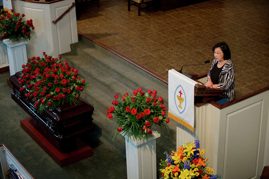 NEIL BLAKE | nblake@mdn.netTina Van Dam speaks at the funeral service for Margaret (Ranny) Riecker at Memorial Presbyterian Church on Monday. Van Dam spoke on her friendship with Ranny and the fun they had. Photo: Neil Blake/Midland  Daily News / Midland Daily News