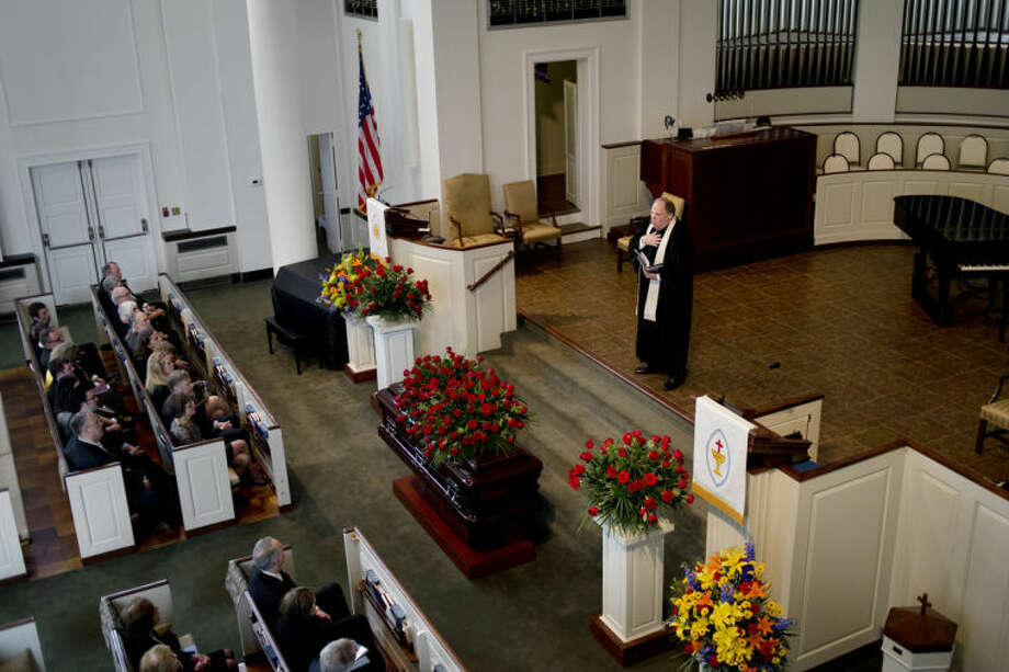 Rev. Wallace Mayton III speaks at the funeral service for Margaret (Ranny) Riecker at Memorial Presbyterian Church on Monday. Mayton presided over the service. Photo: Neil Blake/Midland  Daily News