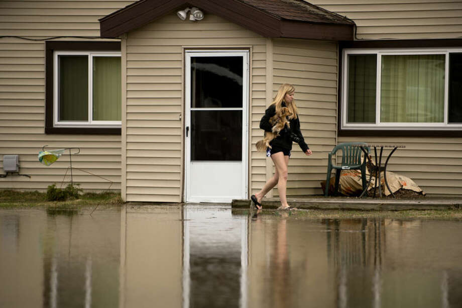 """Amanda Leaman carries one of her dogs to from her home in Sanford on Monday as the water rises. Leaman's soon to be father-in-law, Karl McKimmy, used his pick-up truck to get to the home to help her evacuate. """"It wasn't this bad [last year],"""" Leaman said. While the area still flooded last year, it stayed out of her home. Photo: Neil Blake/Midland  Daily News"""
