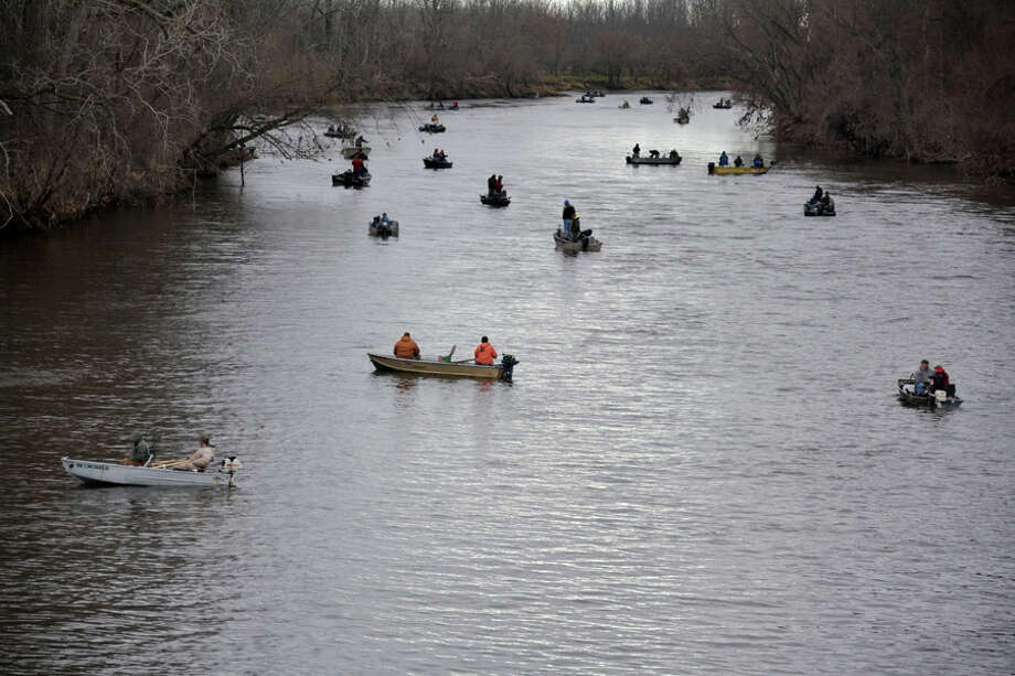 The Tittabawassee River at the Caldwell Boat Launch at Gordonville Road was a busy place as the inland walleye season opened on Saturday. Photo: STEVE GRIFFIN