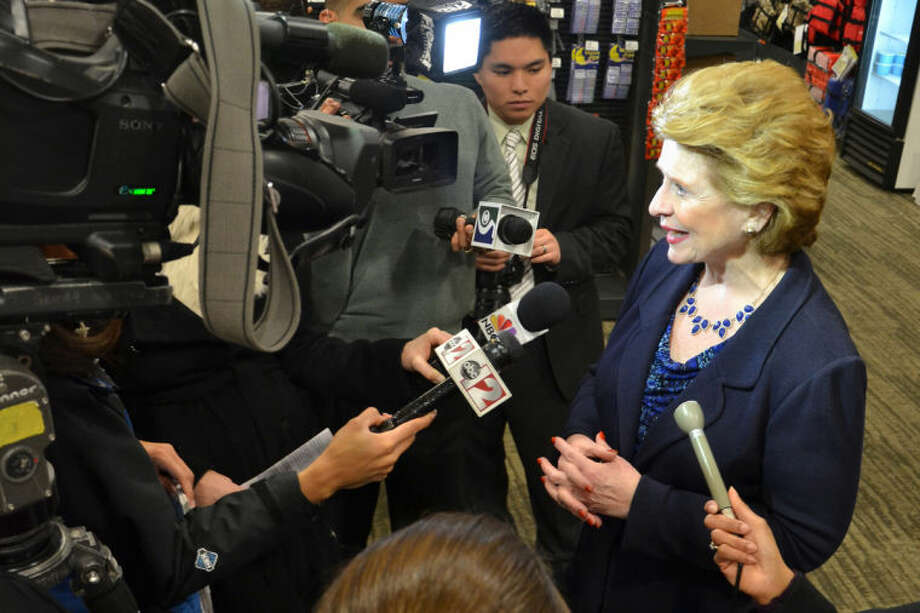 STEVE GRIFFIN | for the Midland Daily NewsU.S. Sen. Debbie Stabenow talks to the media during her visit to Saginaw on Wednesday.