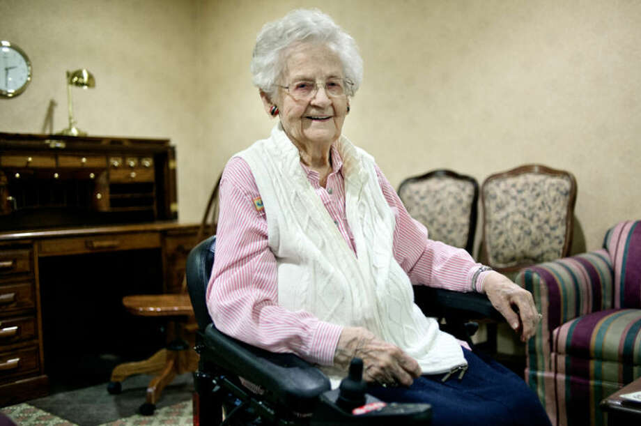 Colonial Villa resident Edith Edwards is celebrating her 102nd birthday on March 3. Photo: Nick King/Midland  Daily News