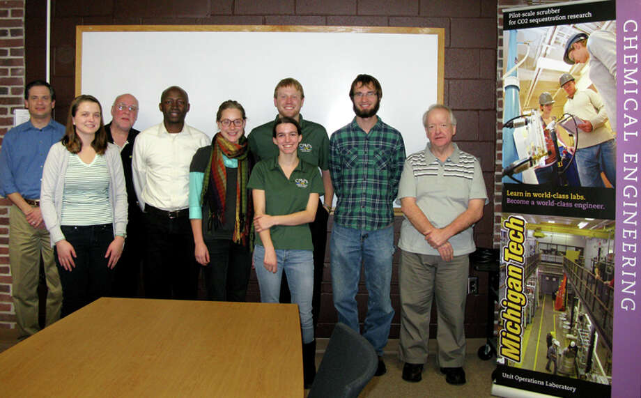 Photo providedMichigan Tech's Midland Watershed team, from left, is Dr. David Watkins, Melissa Wilson, Dr. Sean Clancey, Issac Kinuthia, Leigh Miller, Dylaina Fiebing, Tyler Jensen, Matthew Nitz and Dr. Tony Rogers.