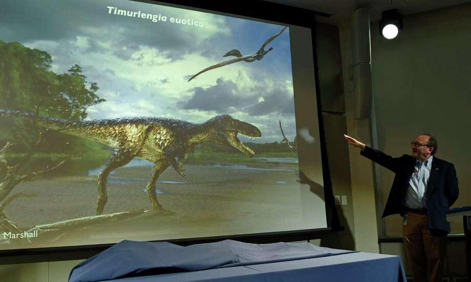 Hans-Dieter Sues unveils Timurlengia euotica, a member of the evolutionary branch that led to the tyrannosaurs. Photo: Susan Walsh / Associated Press / AP