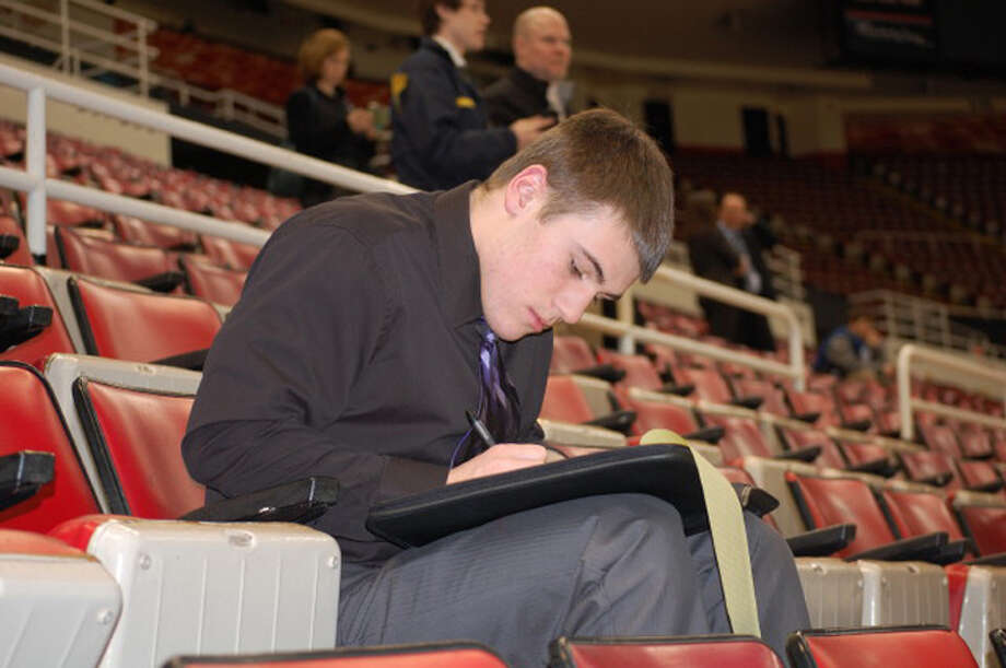 Photos providedDow High junior Connor Doyle participates in the Detroit Red Wings' Student Journalist Day recently in Detroit.