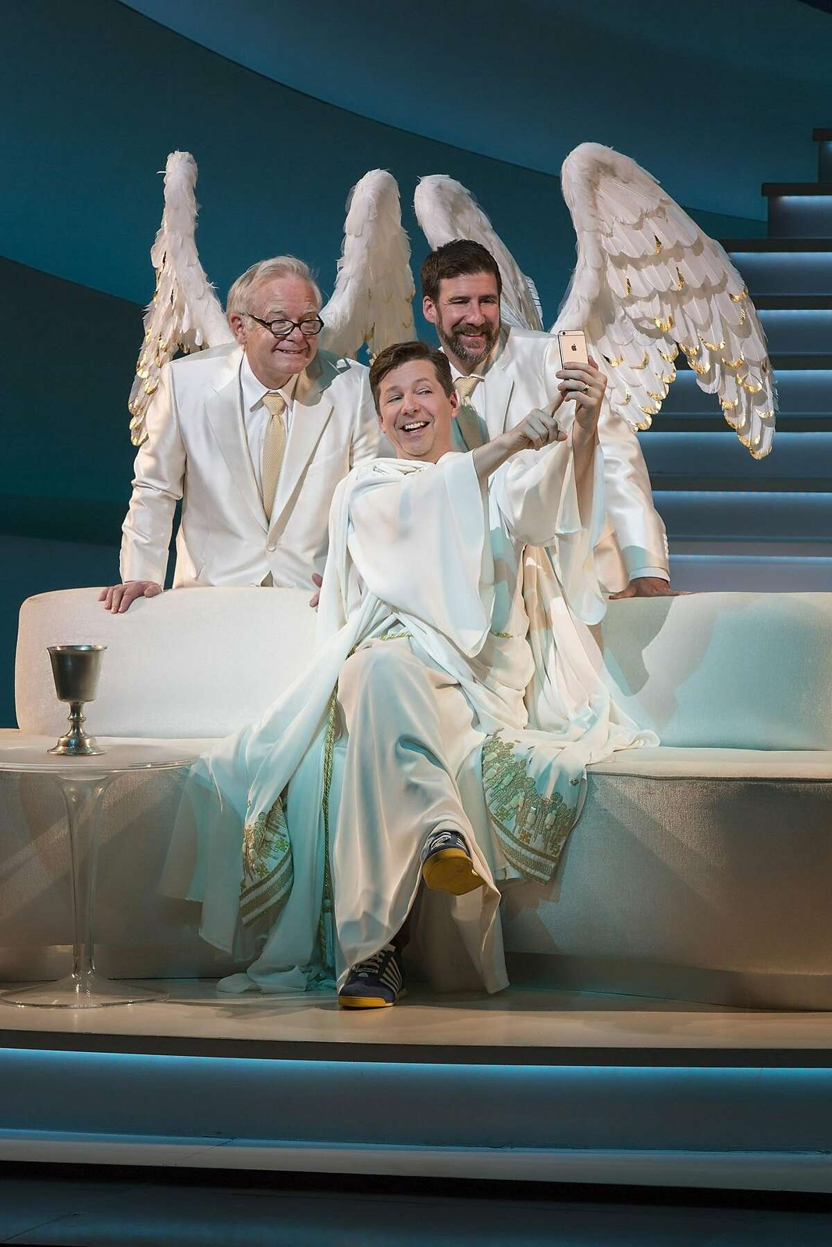 """James Gleason, Sean Hayes, David Josefsberg snap a divine selfie in """"An Act of God."""" The blasphemous comedy runs at the SHN Golden Gate Theatre through April 17, 2016. Photo by Jim Cox"""