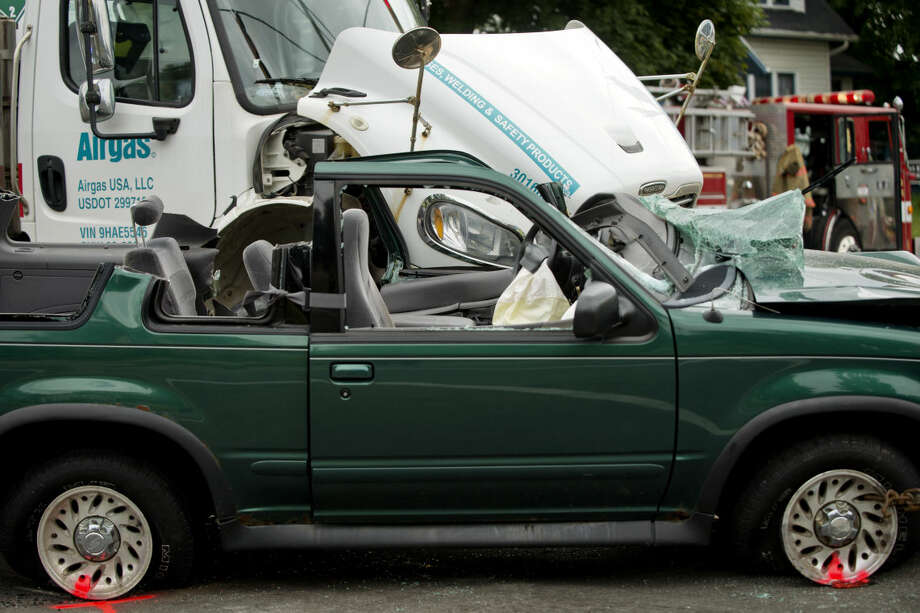 The scene of the two-vehicle crash. Photo: Nick King/Midland  Daily News