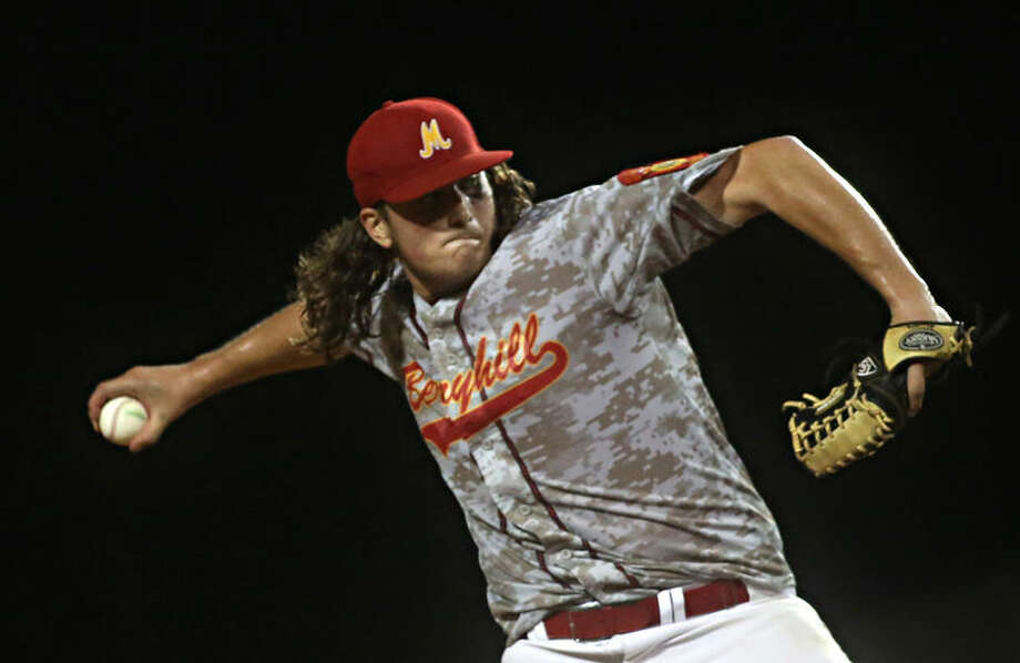 Berryhill's Evan Marquardt winds back to pitch during game 13 of the American Legion World Series in Shelby, N.C., between Midland and Omaha, Neb., on Monday. Photo: Ben Earp | The Star