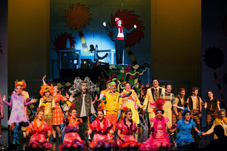 "Cat in The Hat Aaron Mealey is shown with other cast members in the Midland Center for the Arts Teenage Musicals production of ""Seussical."" Photo: STEVEN SIMPKINS 