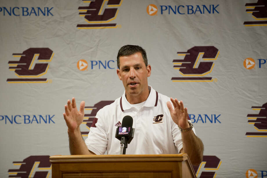 Central Michigan University's head football coach Dan Enos talks to the media at CMU on Thursday. Photo: NEIL BLAKE | Nblake@mdn.net
