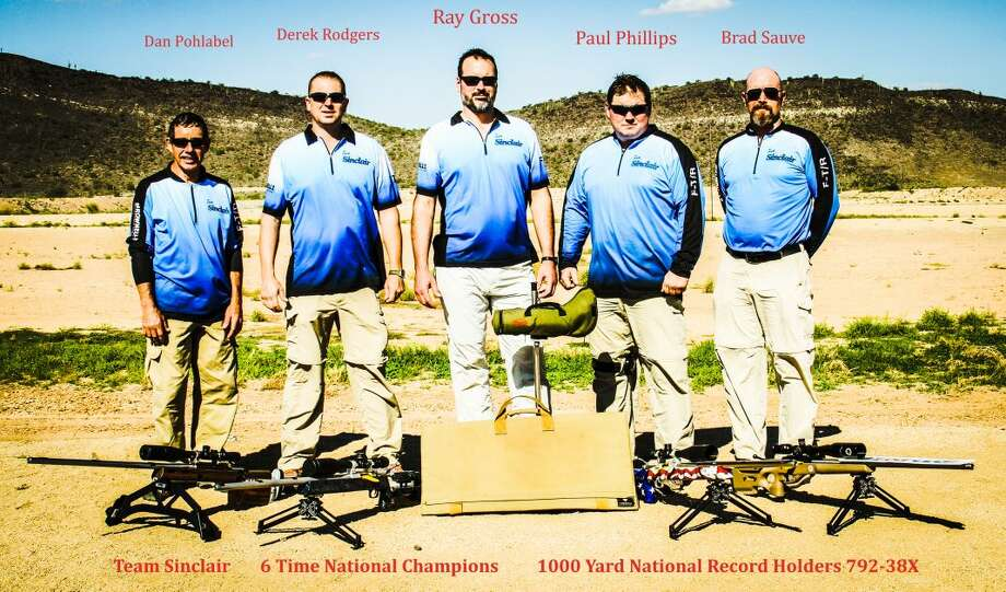 Team Sinclair, made up of (from left) Dan Pohlabel, Derek Rodgers, Ray Gross, Paul Phillips, and Brad Sauve, recently set a national record for the fifth time in the 1,000-yard distance and won the gold medal at the U.S. F-Class National Championship in Arizona.