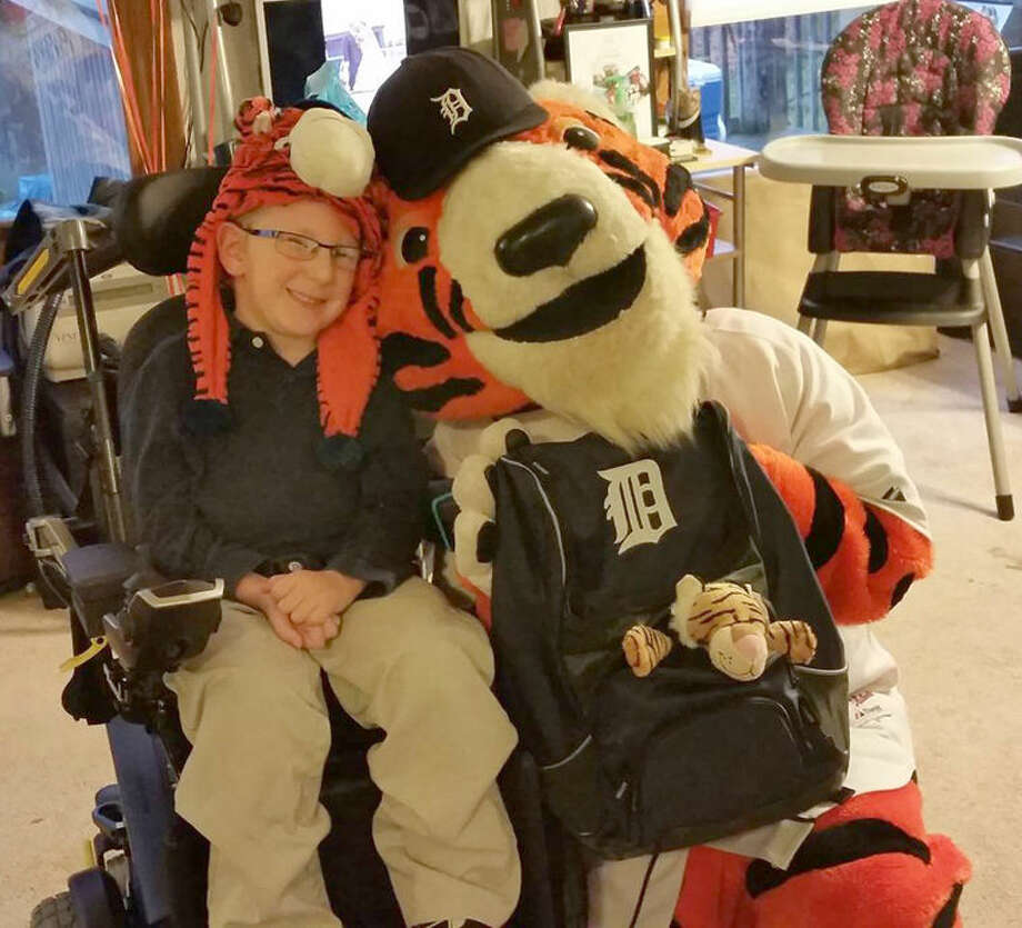 Paws, the Detroit Tigers' mascot visited Zack at his home. Photo: Photo Provided