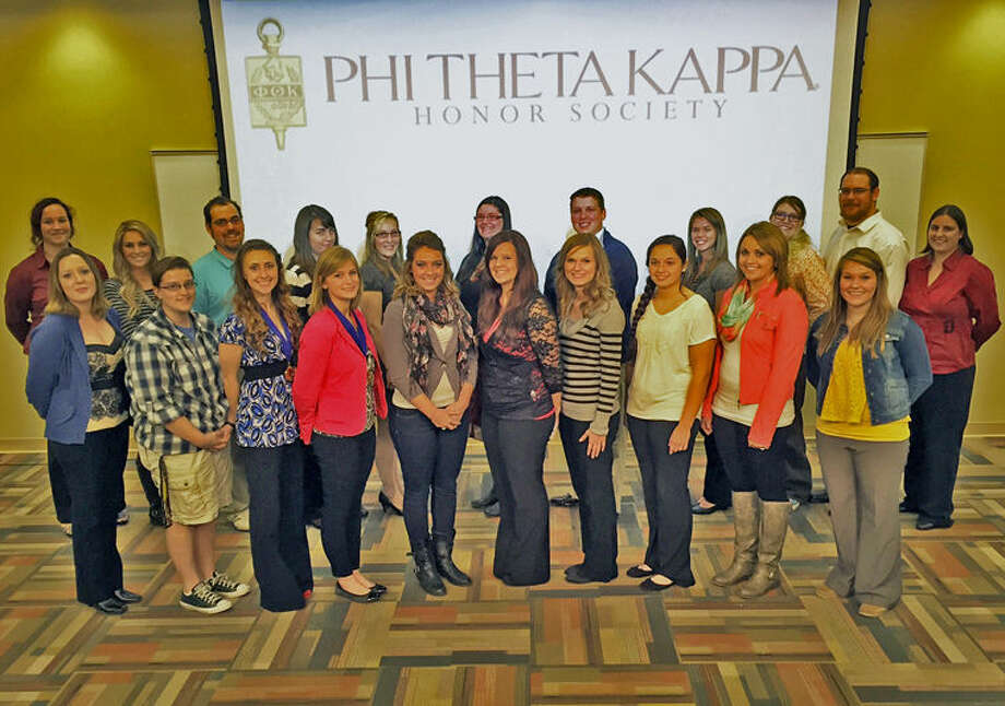 The 48 new members of the Alpha Omicron Omicron Chapter at Mid Michigan Community College are: Front row, from left: Danielle Kohler (Graphic Design), Margini Schafer (Health Sciences), Makayla McQuiston (Psychology), Rachel Brown (Therapeutic Recreation), Haley Hensley (Elementary Education), Ashlee Hobbs (Nursing), Christina Isaac (Accounting), Sydney Hubbard (Biology), Shayann Richardson (Diagnostic Medical Sonography), Chelsea Jeske (Physical Therapy Assistant). Back row, from left: Rebekah Averill (Nuclear Engineering), Cassie LaBonville (Business), Brian Tice (Computer Information Systems Networking), Heather Garno (Nursing), Alexandria Lobert (Nursing), Whitney Smith (General Studies), Michael McLoughlin (Nursing), Megan Williams (Athletic Training), Gabrielle Dangler (Undecided) Aaron Bauman (Economics and Statistics), and Katie Larson (Nursing). Not pictured are: Mohammed Almorae, Nicole Beltinck-Burden, Mark Clark, Danielle Collins, Nicole Cuthbertson, Derek Franke, Eric Gregory, Brittany Haton, Daniel Jacobs, Quincy Jones, Brenna Kind, Brittany Leatherman, Steven Marshall, Lindsay Martin, Angela Moyer, Jessica Ostrander, Kyler Parker, Kendra Robison, Candice Roestel, Kennedy Shea, Lizette Shirely, Mason Smeznik, Jessica Soltysiak, Christina Stewart, Shandel Veddler, Devin Warner and Lindsey Zielinski. Photo: Photo Provided