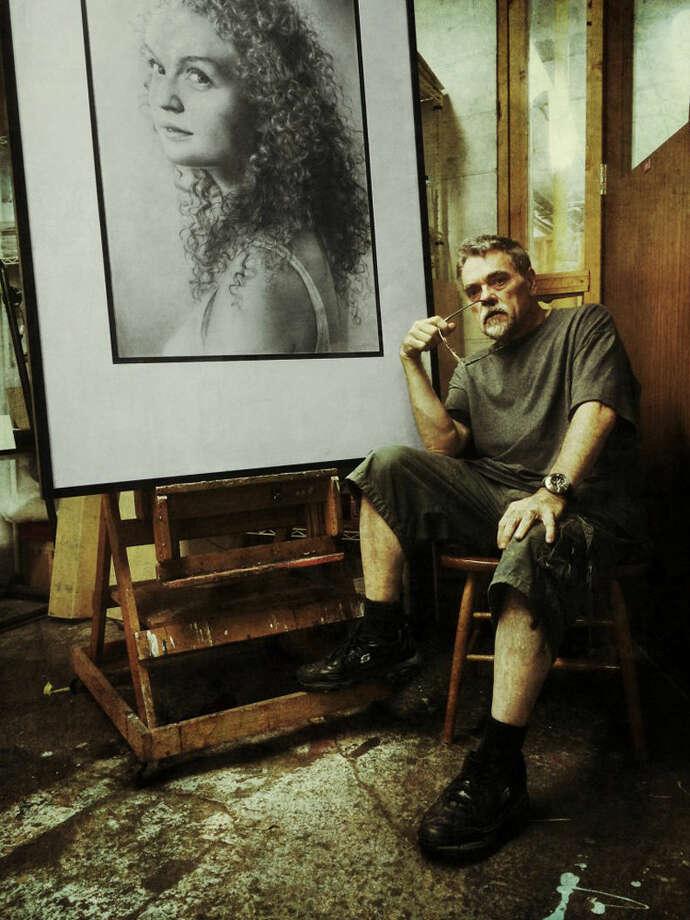 "Midland artist Armin Mersmann and his pencil drawing ""Gabriella."" Photo: Photo Provided"