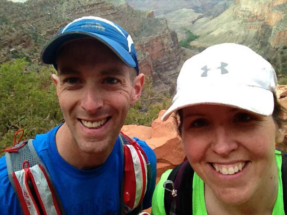 Jim Badgerow and Misty Wright in a self-portrait taken about halfway up the climb out on the Bright Angel Trail in the Grand Canyon.
