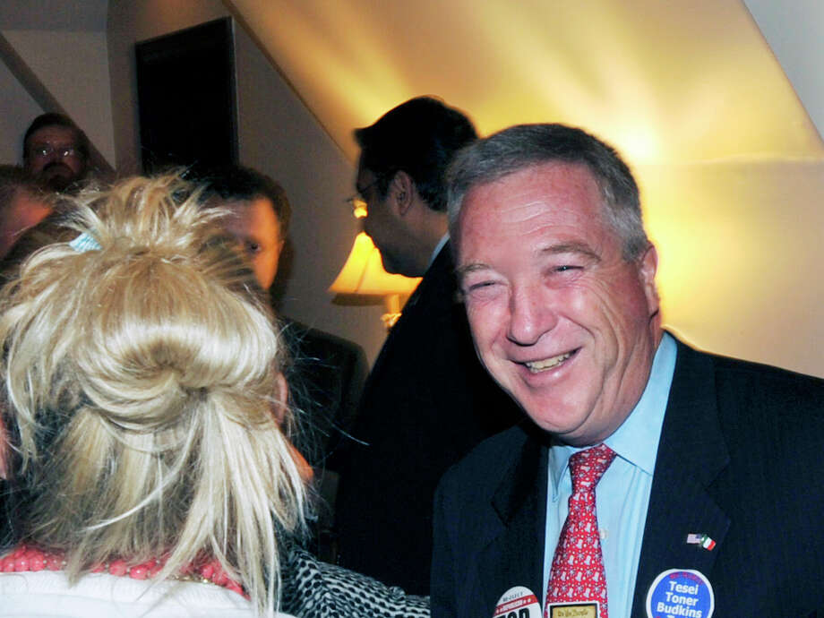 Tod Laudonia, Greenwich tax collector, celebrates his reelection to office on election night at the Milbrook Club in Greenwich, Conn., Tuesday night, Nov. 3, 2015. The BET Moday night slashed the position's salary in half in a surprise move. Photo: Bob Luckey Jr. / Hearst Connecticut Media / Greenwich Time