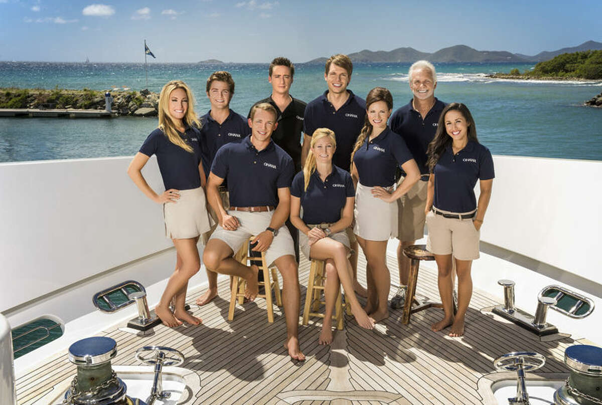 """The cast of """"Below Deck."""" Pictured, clockwise from left, Kate Chastain, Eddie Lucas, Kelley Johnson, Ben Robinson, Kathleen Held, Andrew Sturby, Amy Johnson, Captain Lee Rosbach, Jennice Ontriveros."""