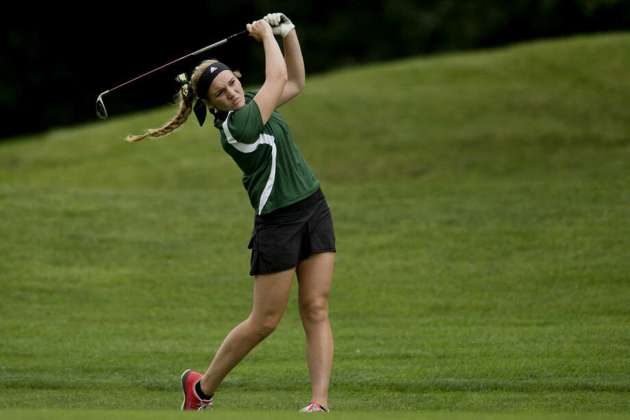 Dow's Alexie Flaminio hits a shot toward the green on the ninth hole on the Currie West Course in Midland on Thursday. Photo: NEIL BLAKE   Nblake@mdn.net
