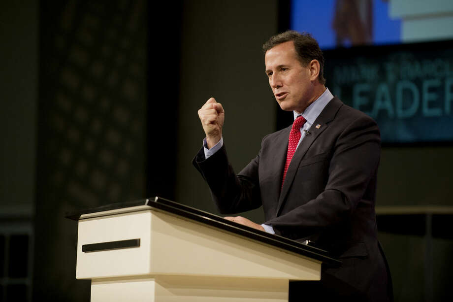 Rick Santorum, a former senator and presidential candidate from Pennsylvania, speaks at a leadership conference at Living Word Church in Midland on Thursday. Photo: NEIL BLAKE   Nblake@mdn.net