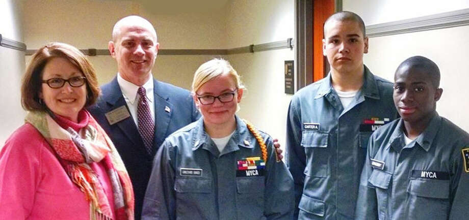 Michigan Youth Challenge Academy graduation ceremony,from left: Kay Carter; state representative-elect Gary Glenn, R-Midland; Cadet Executive Officer Sousha Carlevaris-Bianco; Carter's son Cadet Corporal Andrew Carter; and Cadet Corporal Lujuan Grigsby II, all of Midland. Photo: Photo Provided